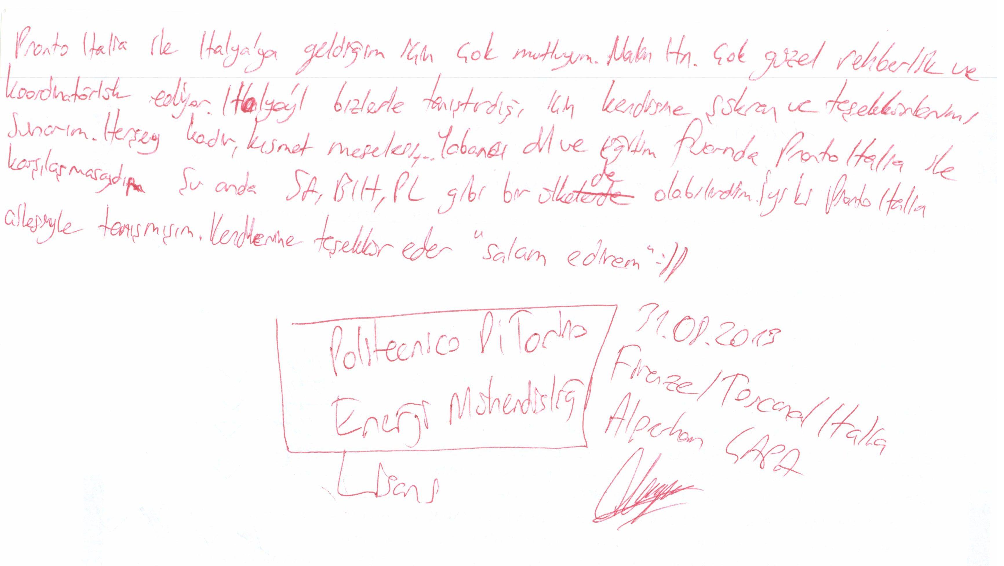 Politecnico Di Torino'da Enerji Mühendisliği Lisansı okuyan Alperhan ÇAPA'nın mektubu