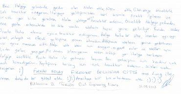 Furkan KOLAY'ın Mektubu - Politecnico Di Torino - Civil Engineering - Lisans