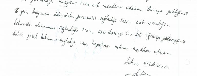 Politecnico di Torino'da Computer Engineering okuyan Sabri Yıldırım'ın mektubu
