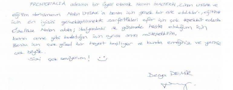 Derya'nın bize duygu dolu mektubu