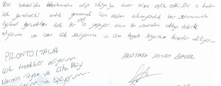 İtalya, Lodi'den mektubunu bize ulaştıran Mustafa Samet Başer'in yazdıkları