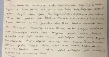 Universita di Firenze'de Architectural Design yüksek lisans yapan Ece YAMANOĞLU'nun mektubu