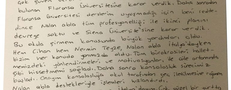 Siena Üniversitesi'nde (Universita di Siena) Master of Finance okuyan Nur Damla KAHVECİ'nin mektubu
